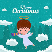 Merry Christmas with Cute Kawaii Hand Drawn Angel With a Pipe Or Playing a Trumpet Among The Clouds With Smiling And Funny Face. Cartoon. Vector. Character. Illustration. Flat Design. Background. Greeting. Invitation. Postcard. Banner. EPS 10