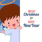 Merry Christmas with Cute Kawaii Hand Drawn Angel Among The Clouds With Smiling, Funny Face And Big Signboard. Cartoon. Vector. Character. Illustration. Flat Design. Background. Greeting. Invitation. Postcard. Banner. EPS 10
