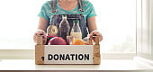 Food box in the kitchen. The concept of donation.