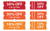 Coupons discount banner 50%, 30% and 10% off offers