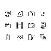 Video and photo camera setting icon simple symbols set. Contains icon action, mobile, photo, video camera. Portrait and photography for mobile app in social networks
