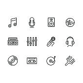 Simple set modern and retro music equipment illustration line icon. Contains such icons notes, microphone, music speaker, tape recorder, equalizer, headphones, vintage vinyl disc and player, film cassette