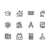 Science and education outline icon simple symbols set. Contains icon academic hat, ruler, pencil, books and textbooks, lamp, atom, compasses, synopsis, briefcase, calculator, laboratory flask
