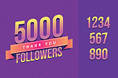 5000 followers thank you illustration for social network friends, followers, web user. Greeting card for celebrate subscribers or followers and likes in social media
