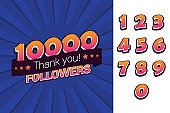10000 followers thank you illustration for social network friends, followers, web user. Greeting card for celebrate subscribers or followers and likes in social media