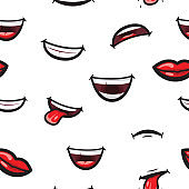 Pattern smiling lips, mouth with tongue, white toothed smile and sad expression. Lips and mouth expressing different emotions, funny and sad smiles on white pattern background