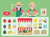 Fruit shop interior vector Illustration. Fruit flat icons set.