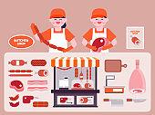 Butcher shop interior vector Illustration. Butcher flat icons set.