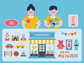 Toys shop interior vector Illustration. Toys flat icons set.