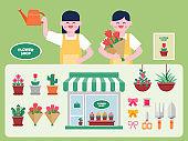 Flower shop interior vector Illustration. Flower flat icons set.