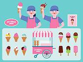Ice cream shop interior vector Illustration. ice cream menu flat icons set.