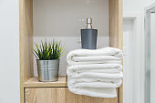 Shelf in bathroom with white towels, greens and bottle