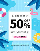 Summer sale Poster, Web Banner, Pop-Up, banner template design. seasonal discount vector Illustration.