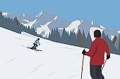 Skiing in high mountains, flat design vector illustration. Downhill skiier