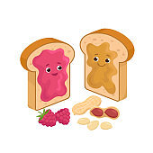Cheerful Peanut Butter and Jelly Jam on the loaf Bread Sandwiches Cartoon characters and peanuts and raspberries isolated on white background. Vector illustration in flat design.