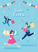 People shopping sale at store, shop, mall. Flat vector illustration.