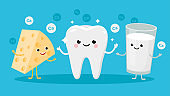 Happy Healthy Tooth and High calcium Products Cartoon characters friends together. Vector illustration in flat design. Cute Cheese and Milk infant characters.