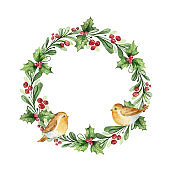 Watercolor vector Christmas wreath with fir branches and birds.