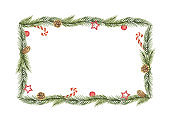 Watercolor vector Christmas banner with green fir branches and gift.