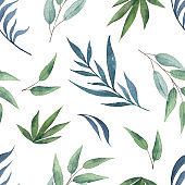 Watercolor vector seamless pattern with green branches and leaves isolated on white background.