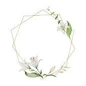 Watercolor vector hand painted wreath of flowers, green leaves and gold geometric frame.