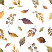 Watercolor vector autumn seamless pattern with fallen leaves isolated on white background.