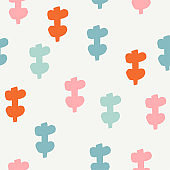 Seamless pattern with modern floral and abstract elements in fresh pastel colors.