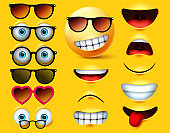 Smileys emoticons with sunglasses vector creation kit. Smiley emojis and emoticon head face kit eye and mouth in surprise, angry, sad, naughty and angry expression.