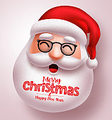 Christmas santa claus vector design. Santa claus happy face with long beard and merry christmas greeting text.