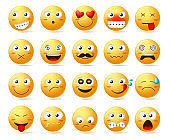 Smileys vector icon set. Smiley face or yellow emoticons with facial expressions and emotions