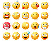 Emoji vector icon set. Smiley face or yellow emoticons with various facial expression