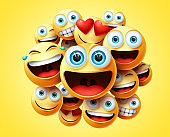 Smileys emoticons group vector design. Smileys emoticon cute faces group in excited, laughing, funny, happy and naughty feelings.