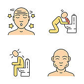 Food poisoning, allergy symptoms color icons set