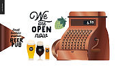 Brewery, craft beer pub - small business graphics - vintage cash register