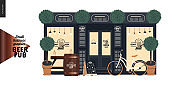 Brewery, craft beer pub - small business graphics - a bar facade