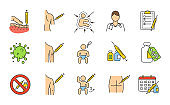 Vaccination and immunization color icons set