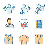 Men's health color icons set