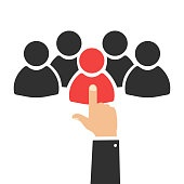 Human resources. Group of people. Job interview. Choice of person. Person suitable for the work. Vector illustration.