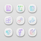 Gradient line icon set