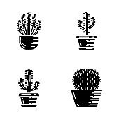 House cacti in pot glyph icons set