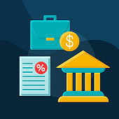 Business loans flat concept vector icon