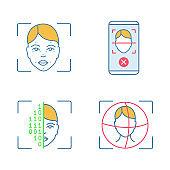 Facial recognition color icons set