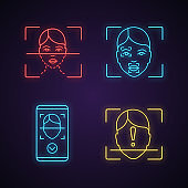 Facial recognition neon light icons set