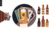 Brewery, craft beer pub - small business graphics - gallery icon and bottles
