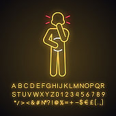 Nausea neon light icon