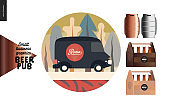 Brewery, craft beer pub - small business graphics - delivery van and some beer