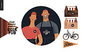 Brewery, craft beer pub - small business graphics - about us icon and pub elements