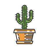 Saguaro cactus in pot color icon