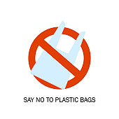 Plastic bags ban. Pollution problem. Environmental Protection. Say no to plastic bags. Vector illustration