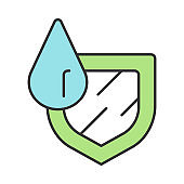 Waterproofing sign color icon